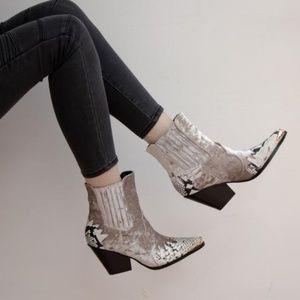 Shoes - SNAKESKIN VELVET BOOTIES  **HOST PICK**